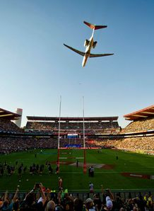 A plane flies over the Ellis Park Stadium South Africa v new Zealand