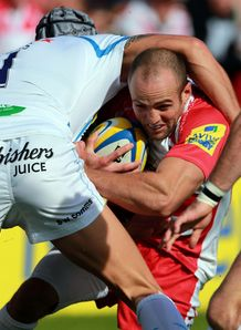 Charlie Sharples tackled Gloucester v Exeter Aviva Premiership 2013
