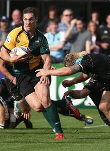 George North makes a break for Northampton Saints against Ospreys