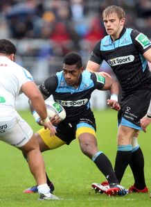 Glasgow scrum half Niko Matawalu taking contact