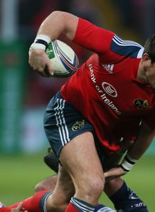 Munster centre James Downey on a run