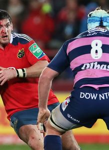 Munster inside centre James Downey bloodied