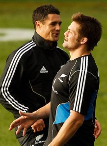 Richie McCaw and Dan Carter training 2013