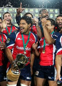 Tasman players celebrate after winning during the ITM Cup Championship FInal 2013