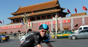 Mathew Hayman rolled past the Forbidden City on his way to the start