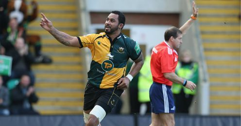 Samu Manoa celebrates a try for Northampton Saints against Ospreys in the Heineken Cup