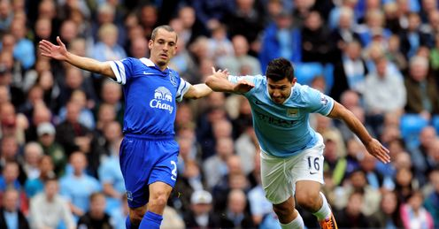 Leon Osman Sergio Aguero Manchester City EVERTON Premier League FOOTBALL Etihad Stadium