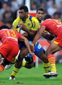 Clermont s Fidji winger Napolioni Nalaga C v Perpignan
