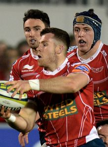 Gareth Davies of Scarlets during LV Cup