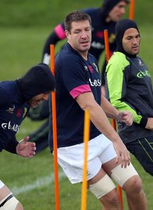 South African Rugby Union player Bakkies Botha takes part in a training session