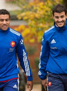 Yannick Forestier Wesley Fofana and Sofiane Guitoune arrive for a training session