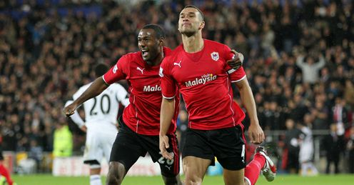 Steven Caulker: Celebrates his goal against Swansea