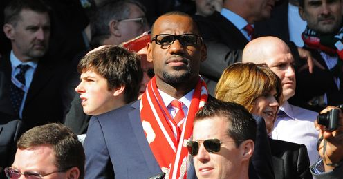 LeBron James takes in the atmosphere at Anfield