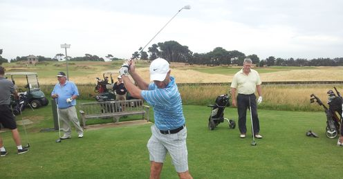 Lovely cover drive: Nasser Hussain limbers up at Royal Adelaide Golf Club