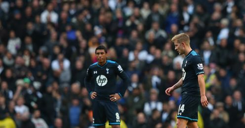 Tottenham duo Lewis Holtby and Paulinho look on after conceding the second goal against Manchester City.
