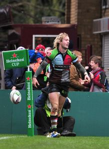 Charlie Walker after scoring for Harlequins