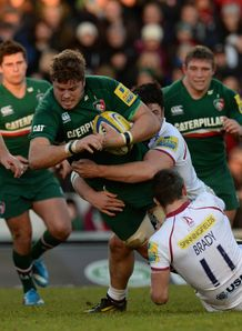 Ed Slater taking contact for Leicester Tigers