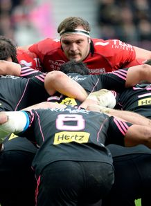 Toulon s Jean Charles Orioli enters a scrum during a French Top 14