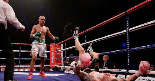 Burns hit the canvas during his contentious draw with Beltran in September
