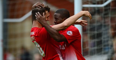 Perfect pairing: Orient's Mooney (L) and Lisbie have rifled in a combined 23 League One goals