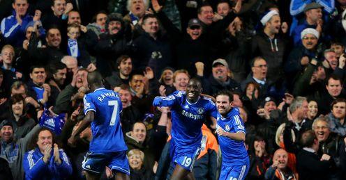 Chelsea celebrate Demba Ba's goal
