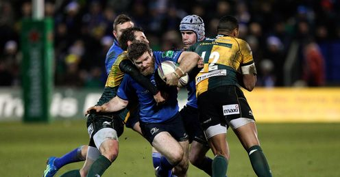 Gordon D Arcy of Leinster is tacked by Lee Dickson L and Luther Burrell R