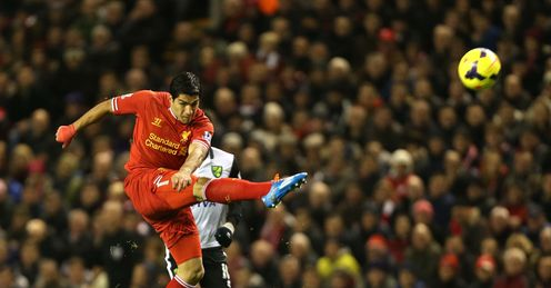 Luis Suarez has netted 11 goals in four games against Norwich and is 9/4 to score the first goal on Sunday