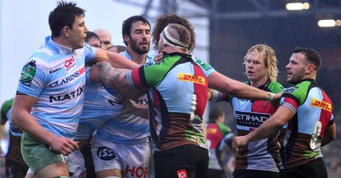 Racing Metro L and Harlequins players scuffle
