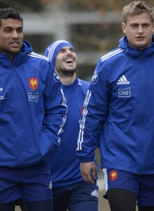 France centre Wesley Fofana L and fly half Jules Plisson