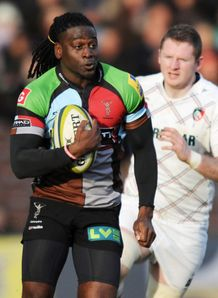 Paul Sackey of Harlequins breaks away to score LV Cup v Leicester Tigers