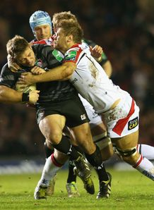 Tom Youngs of Leicester Tigers tangles with Chris Henry of Ulster in Heineken Cup match