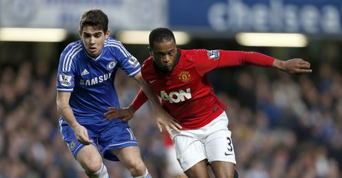 Oscar battles with Patrice Evra during Chelsea's recent win over Man United