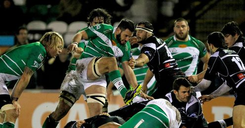 Action from Newcastle Falcons versus Brive