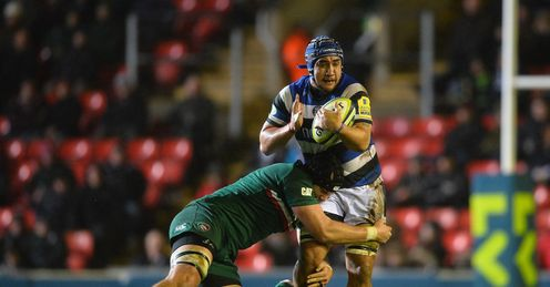Leroy Houston of Bath is tackled by Sebastian de Chaves