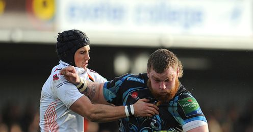 Lloyd Fairbrother of Exeter Chiefs is tackled by Matthew Morgan
