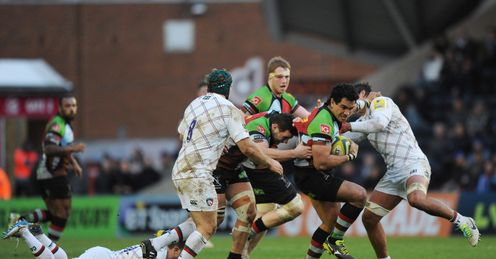 Maurie Fa asavalu of Harlequins breaks through the Leicester Tigers defence