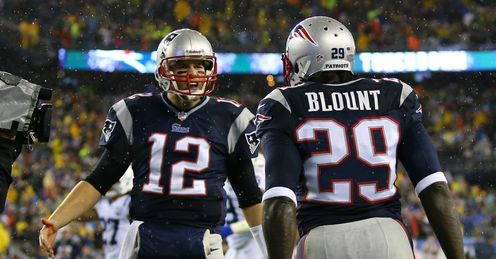 Tom Brady celebrates with team-mate LeGarrette Blount