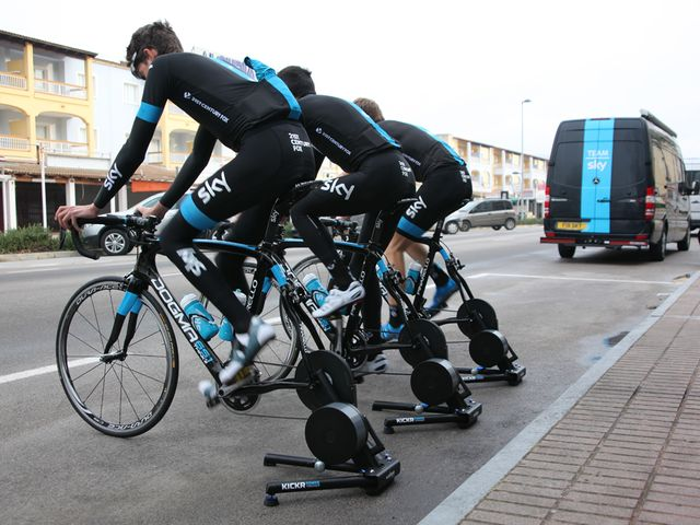 Team Sky training with the KICKR in Mallorca