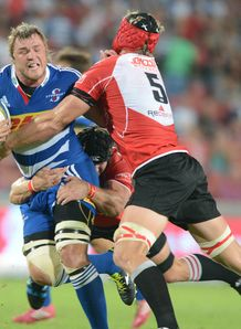 Duane Vermeulen of the Stormers tackled by Lions