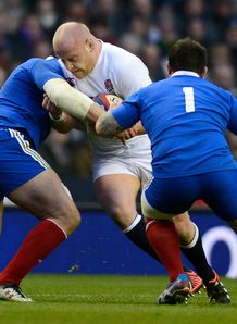 England s prop Dan Cole C gets tackled during the Six Nations France