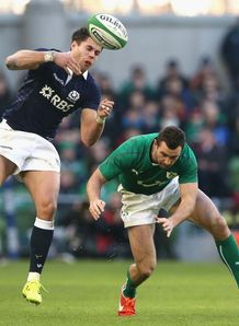 Scotland wing Sean Maitland in the air