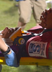quade cooper stretchered off reds v rebels trial 2014