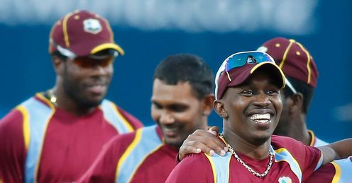 Dwayne Bravo (foreground) galvanises his squad, says Mikey