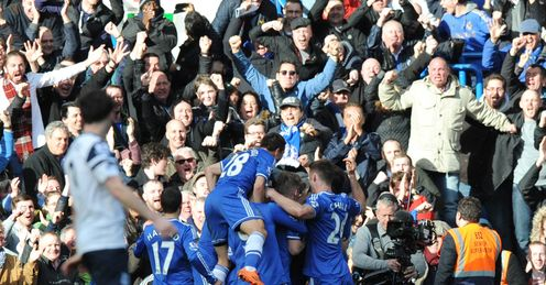 Chelsea v Everton Chelsea players celebrate after scoring