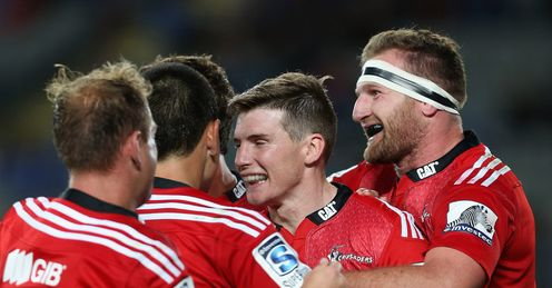Colin Slade congratulated after scoring for Crusaders