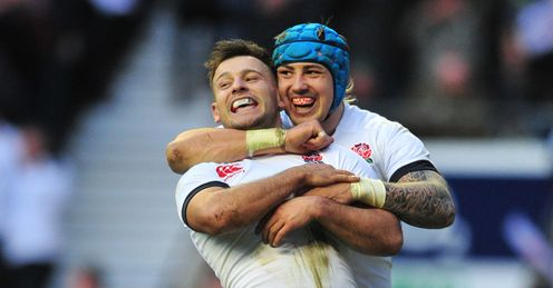 England scrum half Danny Care L celebrates with England wing Jack Nowell R