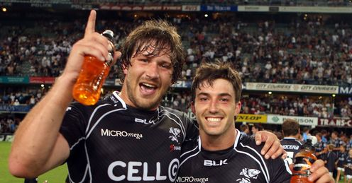Frans Steyn Paul Jordaan Sharks celebrate