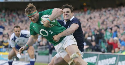 Jamie Heaslip Ireland tackled by Max Evans Scotland 2014