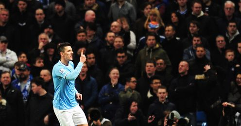 Man City v Chelsea Stevan Jovetic celebrates