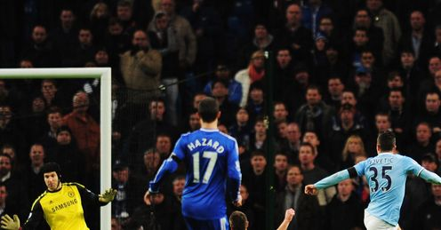 Man City v Chelsea Stevan Jovetic of Manchester City scores the opening goal